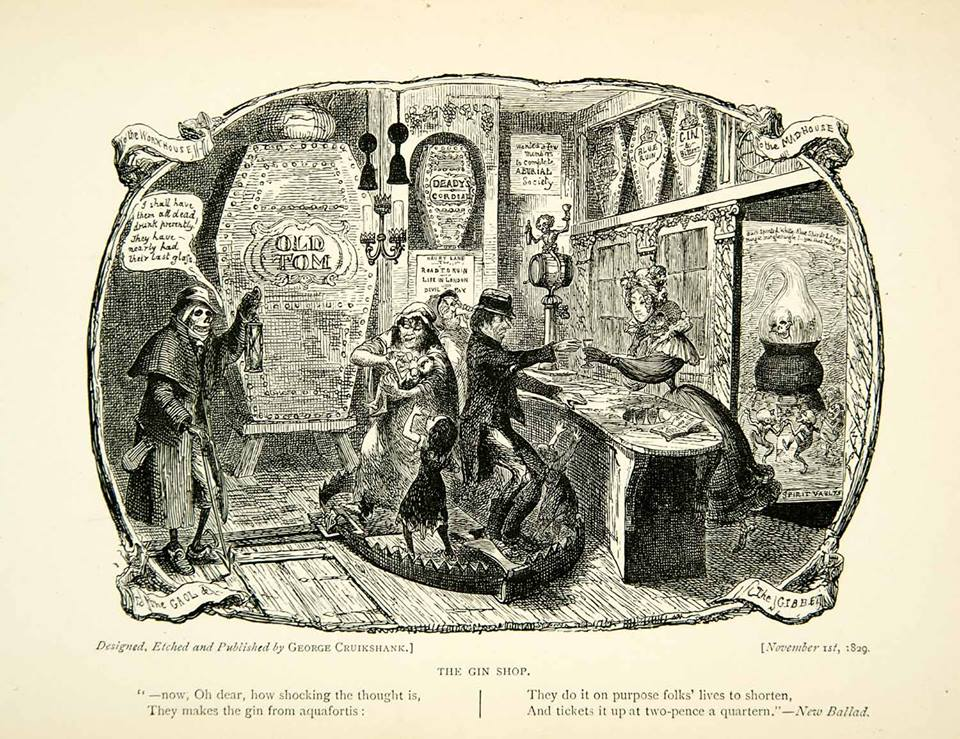 1893 THE GIN SHOP PRINT DI GEORGE CRUIKSANK