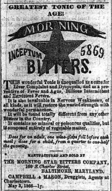 MORNINF STAR BITTERS VIRGINIA FREE PRESS 1866